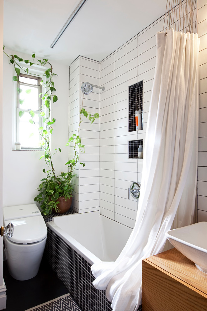 tubs for small bathrooms cotton toto washlet unit plant decoration black and white tile wood cabinet
