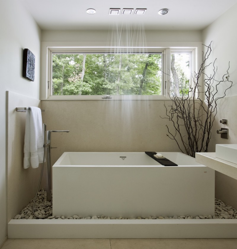 Vanity Lighting Soakingtub With Shower Combination Corian Walls Rain Large Windows River Rock Garden