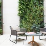 Vertical Garden Plans Metal Framed Chairs Round Table Bench Ceramic Floors White Walls Screen Panel Contemporary Design