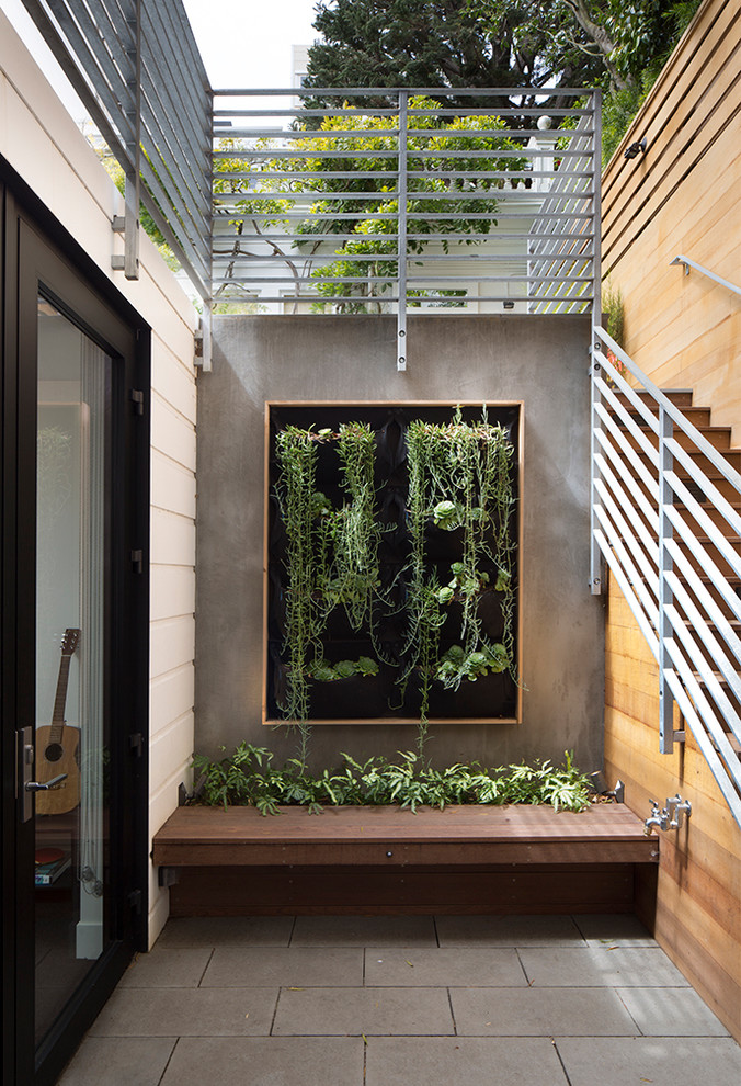 vertical garden plans stairs railing concrete pavers glass doors hanging stairs built in bench wood frame planters contemporary design