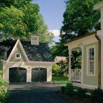 Victorian Exterior Small Home Plans With Garage Detached Garage Grey Garage Doors Porch Skirtinggreen Siding Small Garage