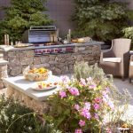 viking outdoor kitchen chairs stone island countertop baskets patio garden stove transitional style