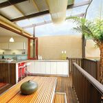 Viking Outdoor Kitchen Hardwood Floor Wooden Fence Stairs Cabinets Drawers Sink Faucets Utensils High Chairs Contemporary Style