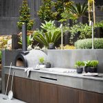 Viking Outdoor Kitchen Wooden Cabinets Flower Pots Countertop Garden Gardening Tools Contemporary Style