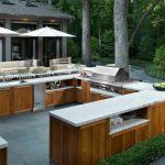 Viking Outdoor Kitchen Wooden Cabinets Stone Tiles Marble Countertop Sunbrella Stove Utensils Patio Appliances Glass Doors Contemporary Design