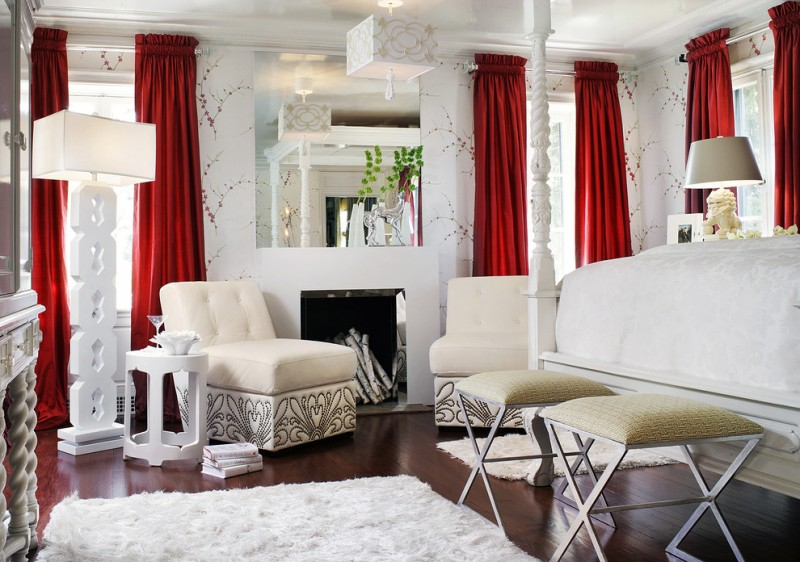 ways to hang curtains carpet hardwood floor lamps red curtain mirror chairs fireplace small table books windows eclectic bedroom