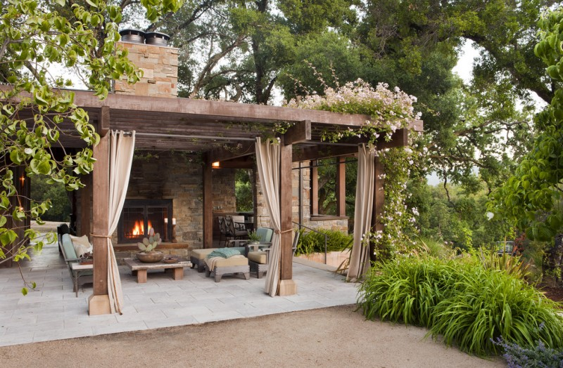 ways to hang curtains patio plants fireplace chairs table rustic style patio