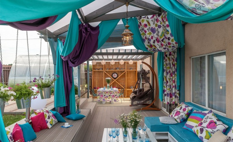 ways to hang curtains seating pillows flowers hanging buckets table window lamp eclectic porch