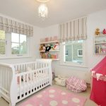 White Baby Crib Polcadot Pink Rug Red Tent Fabric Baskets White Wall Cream Ceiling Pendant Lamp