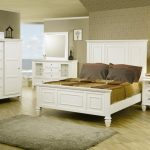 White Bedroom Furniture For Adults Wooden Headboard And Bed White Side Storage White Framed Mirror