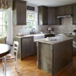 White Subway Tile Grey Grout Small Kitchen Island Painted Cabinets Low Windows Small Kitchen Cabinet Layout Tool