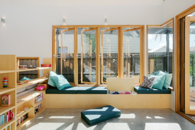 window seats with storage efficient storage green cushion colorful pillow full window and screened door