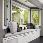 Window Seats With Storage Grey Room White Cabinet Light Grey Cushioned Window Seat Grey Pillows