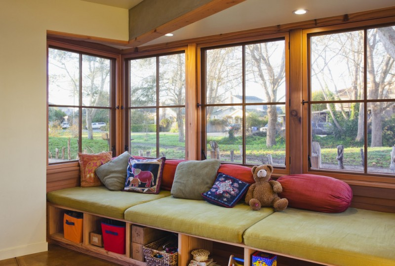 window seats with storage honey cuddle bear clear lighting recessed wall green cushion colorful pillows