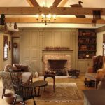Wood Beams Area Rug Flat Panel Shelves Brick Fireplace Built In Cabinet Simple Wooden Coffee Table