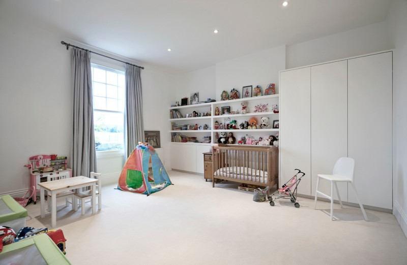 wooden crib white cabinets wall ceiling cream rug table set for kids tent grey curtains white chair baby stroller