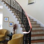 wrought iron stair railings interior faux balcony frame decor unique yellow living room couch flower decoration
