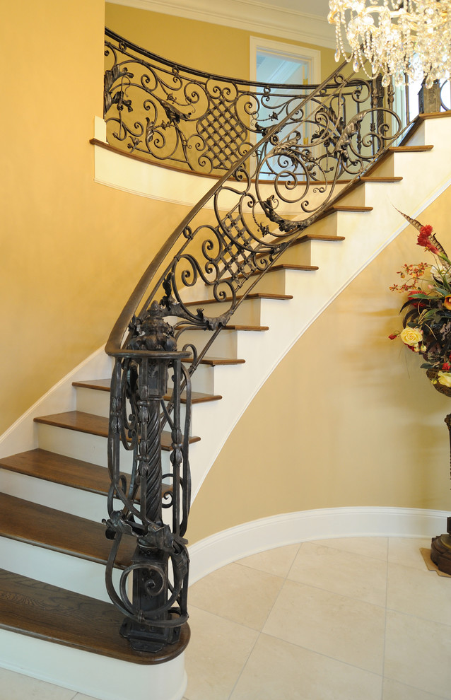 wrought iron stair railings interior italianate railing hand steel acanthus leaves antique components beautiful chandelier
