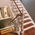 Wrought Iron Stair Railings Interior White Iron Stair Railing Wooden Floor Decorative Flower With Vase