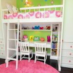 Elegant Kids' Room For Girls With Green Walls And Dark Hardwood Floors White Painted Loft Bed And Cabinets Pink Rug Flower Wallpaper