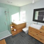 Gray Slate Floor Tile And Mint Mosaic Wall Tiles Japanese Soaking Tub Glass Door Shower Room Wooden Furniture Black Framed Mirror