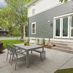 IKEA Chair Set Table Bench Chair Grey And White Painted Wooden Deck Wall Concrete Tile Pavement Fire Feature