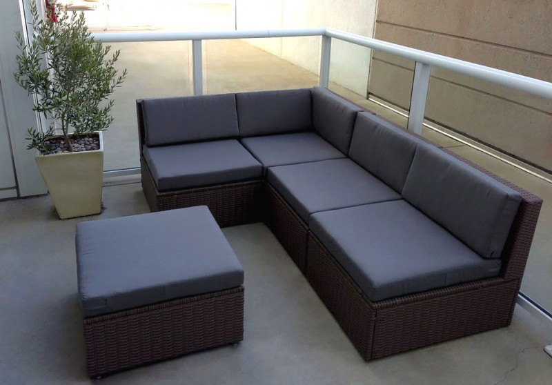 IKEA dark gray rattan framed sectional cushions sets cream rug white pot
