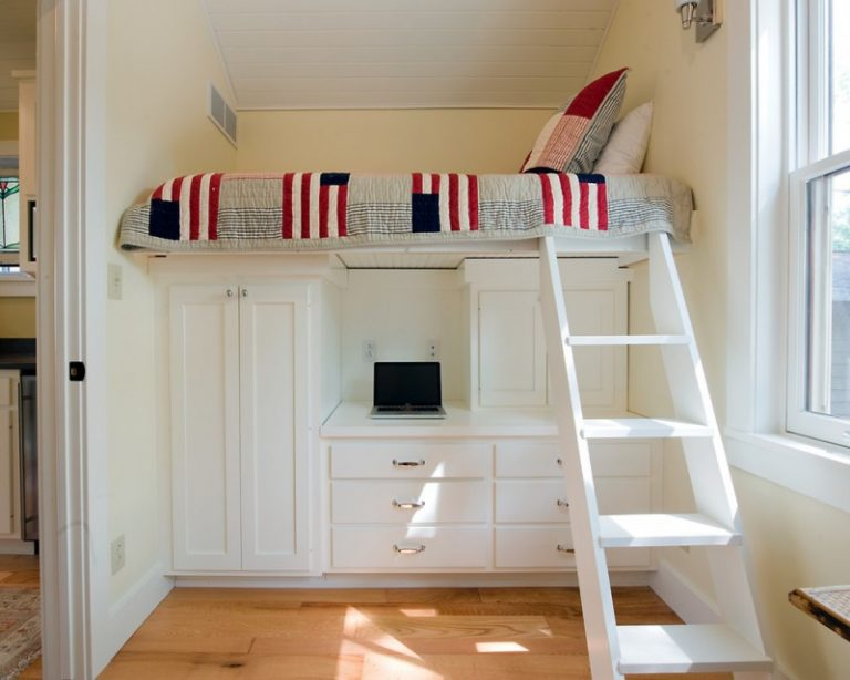 Loft Beds With White Painted Built In Cabinets And Drawers Quilt Cream Wall Deck