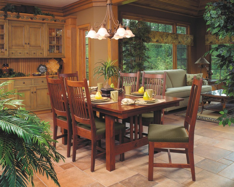 Mission Style dining room idea cherry made dining furniture light toned wood cabinets pavers flooring idea classic pendant lamp