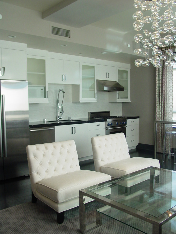 all in one kitchen unit cabinets faucet sink stove chairs glass top table carpet contemporary style room