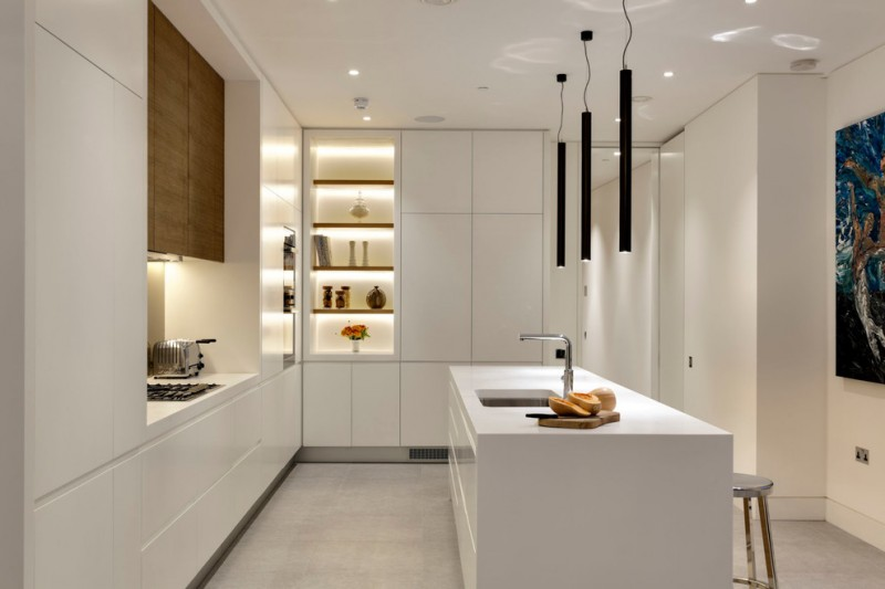 all in one kitchen unit cabinets stove shelves cool lamps ceiling lights island faucet sink stool painting contemporary style room