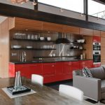 all in one kitchen unit sofa pillows cabinets shelves faucet oven table chairs modern lamps industrial room