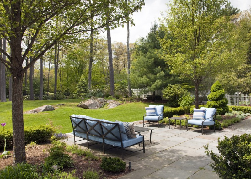 allen roth patio furniture carmel sofa carmel lounge chairs black rectangle and square table patterned pillows