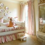 Baby Girl Bedroom Themes Bed Wall Decorations Pillows Bedding Tall Mirror Armchair Steps Beige Floors Window Curtains Traditional Design
