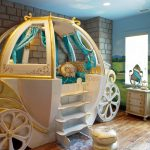 Baby Girl Bedroom Themes Carriage Bed Throw Pillows Hardwood Floor Ceiling Lights Cabinet Eclectic Design