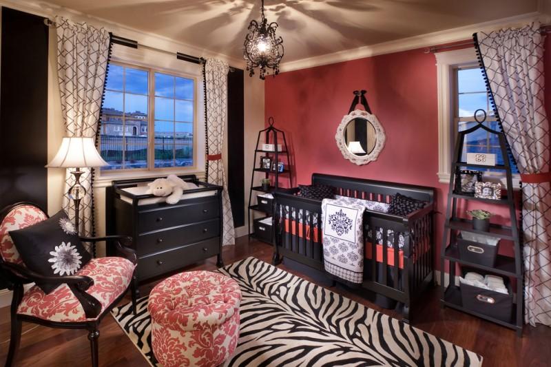 baby girl bedroom themes crib armchair ottoman standing shelves cabinet carpet chandelier hardwood floor window curtains lamp mediterranean design