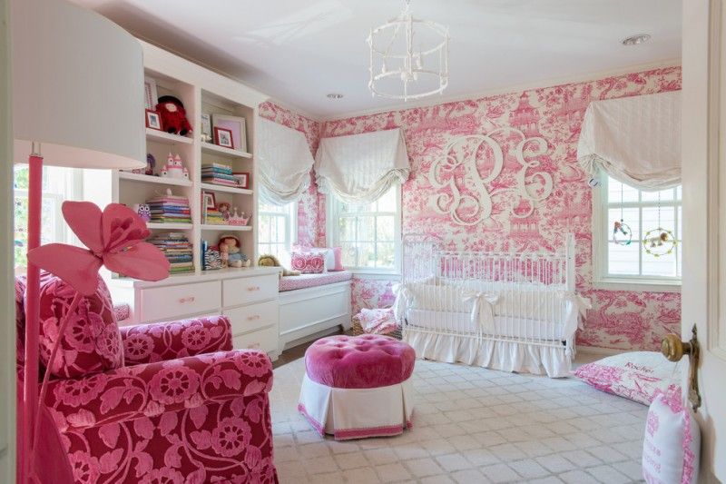baby girl bedroom themes crib bench cabinet couch pendant pillows toys curtains wall decorations traditional design