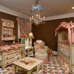 Baby Girl Bedroom Themes Crib Cabinet Table Chair Sidetable Slipcovered Chair Hanging Shelf Chandelier Lamp Traditional Design