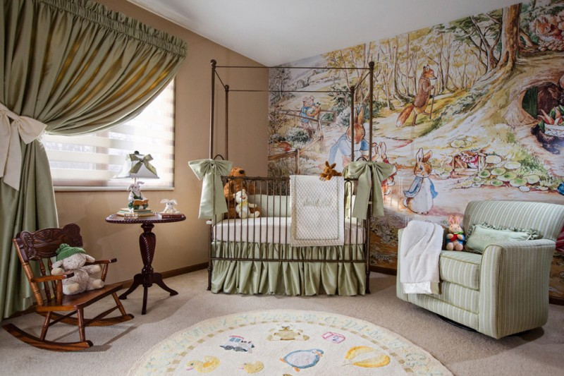 baby girl bedroom themes crib couch rocking chair carpet mural wallpaper sidetable heavy curtain window traditional design