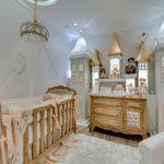 Baby Girl Bedroom Themes Crib Net Cabinet Chair Lamp Hardwood Floor Carpet Beige Walls Traditional Design
