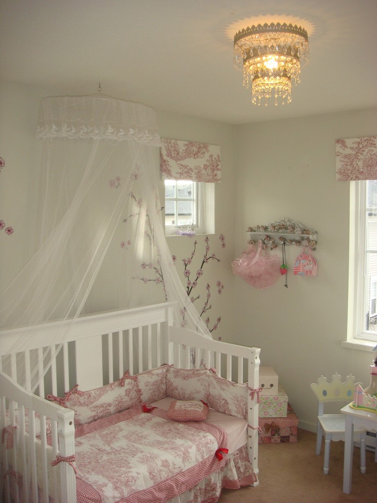 baby girl bedroom themes crib net clothes hooks desk chair boxes chandelier shabby chic style