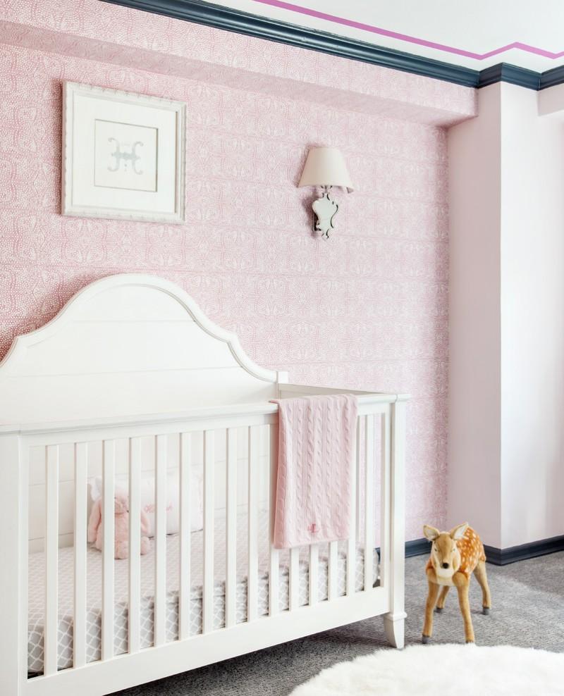 baby girl bedroom themes crib stuffed animal grey floor sconce wallpaper framed artwork transitional design