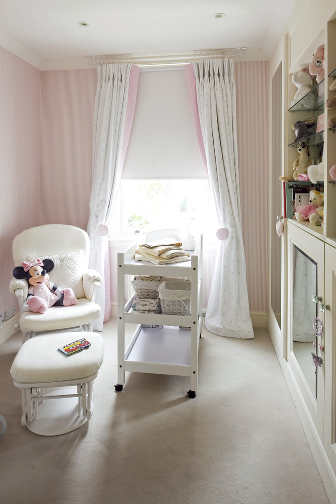 baby girl bedroom themes movable cabinet armchair ottoman white cabinet window curtains ceiling lights traditional design