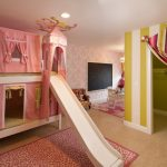 baby girl bedroom themes playing area curtains slide carpet ceiling light chairs table bed traditional design