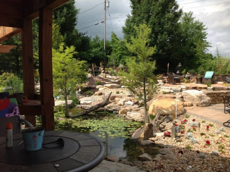 back yard pond chairs plants stones outdoor area traditional landscape