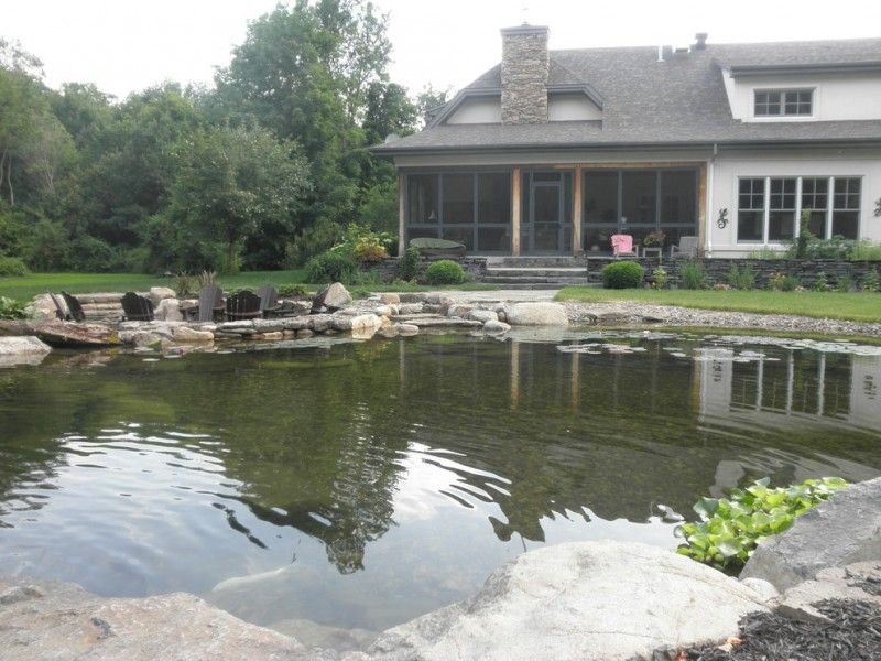 back yard pond house exterior windows chairs plants fish traditional landscape