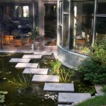 Back Yard Pond Plants Big Window House Exterior Rustic Landscape