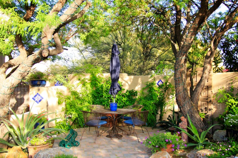 backyard patio design trees chairs table fence rocks plants flowers mediterranean outdoor area