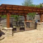 Backyard Patio Designs Chairs Pergola Pillars Fence Plants Cooking Area Beautiful Outdoor Area