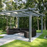 Backyard Patio Designs Cool Pergola Grass Trees Seating Contemporary Style Outdoor Area